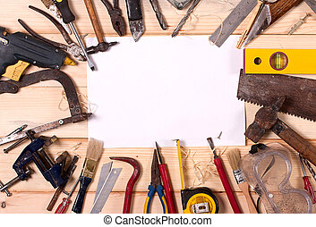Old Hand Tool - blank sheet of paper on the wooden bench in ...