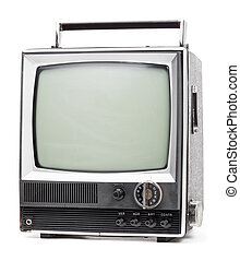 Old handheld television - Vintage portable TV set with...