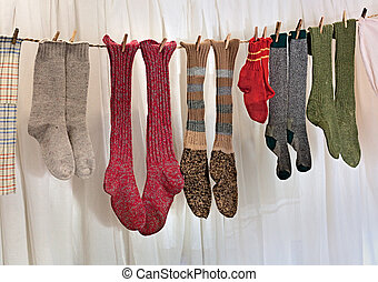handmade wool socks - old handmade wool socks hanging out to...