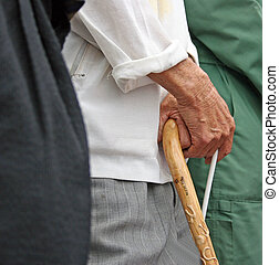 Old hands - Old man holding onto his walking stick