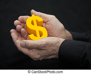 Old hands with dollar symbol