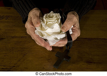 old hands with white rose and cross - old hands with white ...