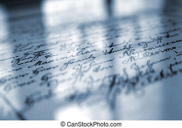 Old Handwriting - Old handwriting under the glass with ...