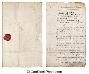 Old handwritten letter. Antique paper sheet with red wax seal
