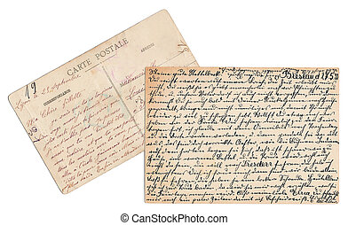 old handwritten postcards in german and french