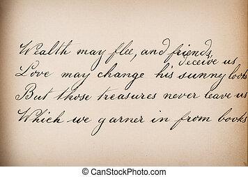 Old handwritten text. Grunge vintage paper texture