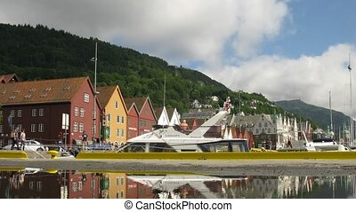 Old Hanseatic district Bryggen - BERGEN, NORWAY- JUNE 27:...