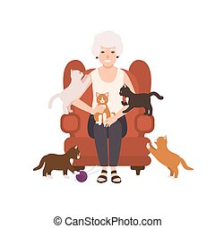Old happy lady or grandmother sitting in comfy armchair surrounded by cats. Portrait of grandma at home. Smiling female flat cartoon character isolated on white background. Vector illustration.
