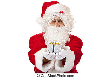 Old happy Santa Claus holding Christmas gift in hands