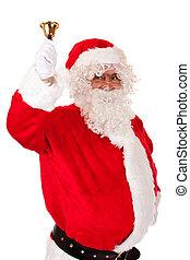 Old happy Santa Claus ringing Christmas bell