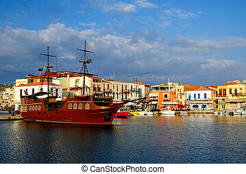 Old harbour in city of Rethymno, Crete, Greece