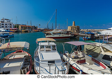 Old harbour of Kyrenia (Girne) and medieval fortress - Northern Cyprus