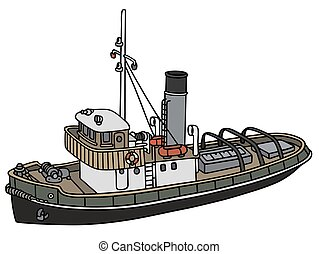 Old harbour tugboat - Hand drawing of an old tugboat - not a...