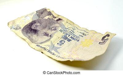old hard used turkish lira banknote
