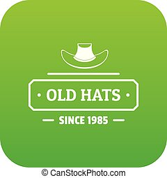 Old hat icon green vector isolated on white background