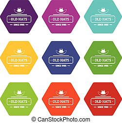 Old hat icons set 9 vector - Old hat icons 9 set coloful...