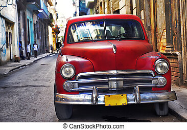 Old havana car - Classic vintage american car parked in the...