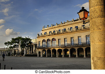 Old havana plaza - Detail of typical old havana building and...