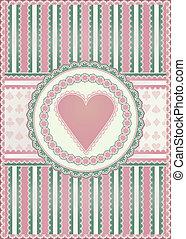 Old hearts card, vector