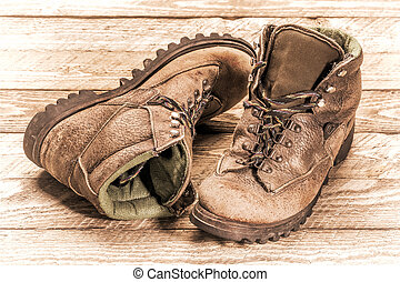 old heavy hiking boots in retro processing