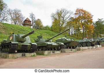 Old Heavy War Tanks in park, Korosten, Ukraine - Old Green...