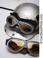 helmet - old helmet and glasses in retro style