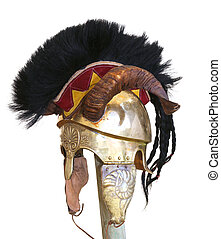 old helmet of a soldier with horn and metal decorations