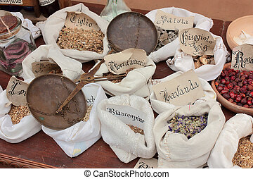 old herbalist's shop - officinal herbs - medicinal plants...