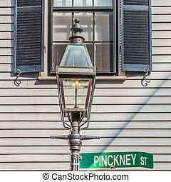 historic lantern at Pinckney street on beacon Hill in Boston