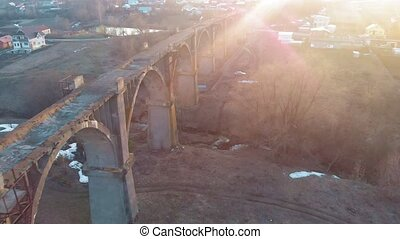 old historic railway bridge, aerial shot from quadrocopter -...