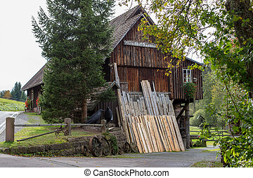 old historic sawmill in the forest