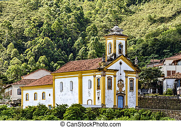 Old historical catholic church in Ouro Preto city - Old...