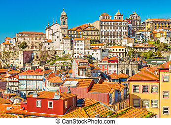 Old historical houses in the center of Porto, Portugal. Cityscape of the famous Portuguese city