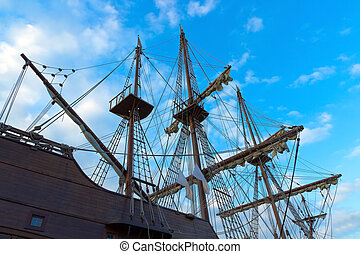 sail ship - old historical sail ship at the Port Vell in...