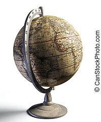 old history map on metal globe
