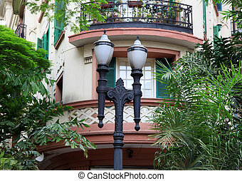 Old home and lamp post