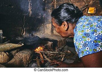Old home kitchen in Sri Lanka - Rural woman preparing food ...