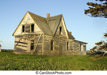 Side view of a fallen down house
