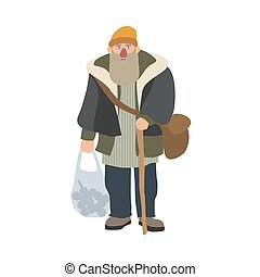 Old homeless man with beard and cane standing and holding plastic bag. Elderly bum, vagabond or hobo dressed in shabby clothes. Cartoon character isolated on white background. Vector illustration.