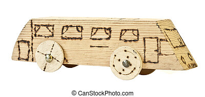 Old homemade wooden bus, child's toy