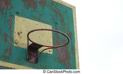 old hoop basketball sport bottom view outdoors rusty iron...