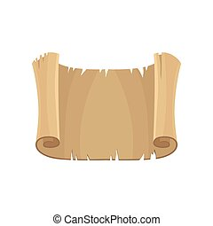 Old horizontal paper scroll, parchment vector Illustration on a white background