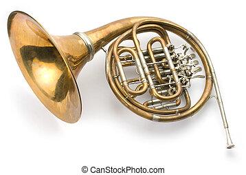 Old horn on white background