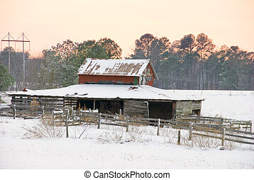 Old Horse Stable in the Snow