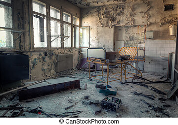 Old hospital - Interior of an abandoned building with rubble...
