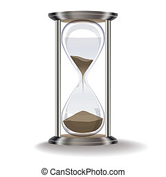 old hourglass isolated on a white