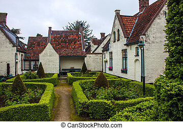 Old house and a small park in Bruges, Belgium