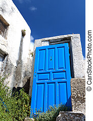 Santorini island in Greece - Old house at Emporio village of...
