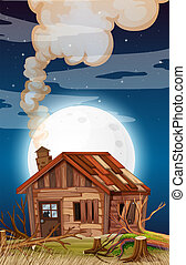 Old house at night scene