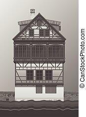 Old house fachwerk style. Vector illustratio.